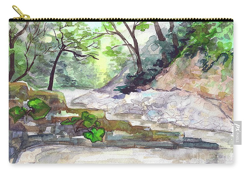 Mountain Carry-all Pouch featuring the painting On A Mountain River by Yana Sadykova