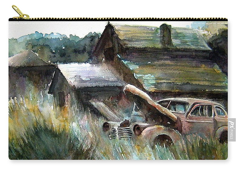 Car Barn Trees Carry-all Pouch featuring the painting On Borrowed Time by Ron Morrison