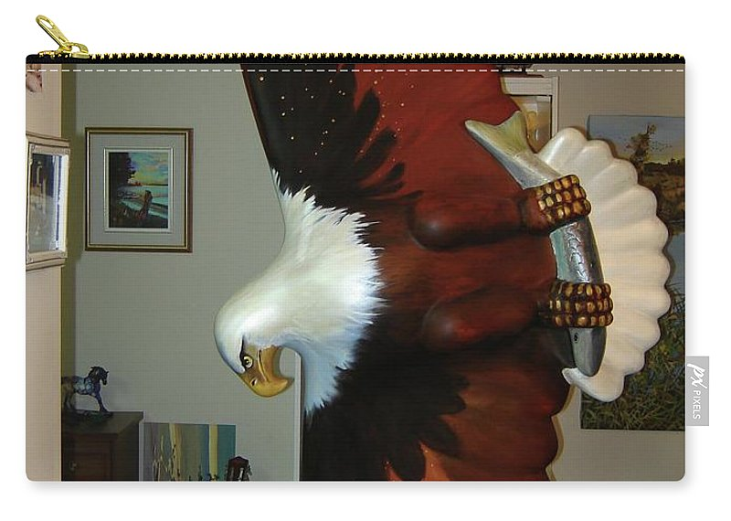 Sculpture Eagle Bald Headed Carry-all Pouch featuring the sculpture On Eagles Wings by Catherine Robertson