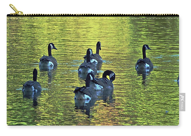 Geese Carry-all Pouch featuring the digital art On Golden Pond by DigiArt Diaries by Vicky B Fuller
