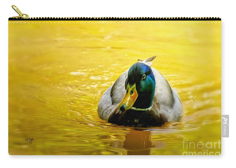 Mallard Carry-all Pouch featuring the digital art On Golden Pond by Lois Bryan