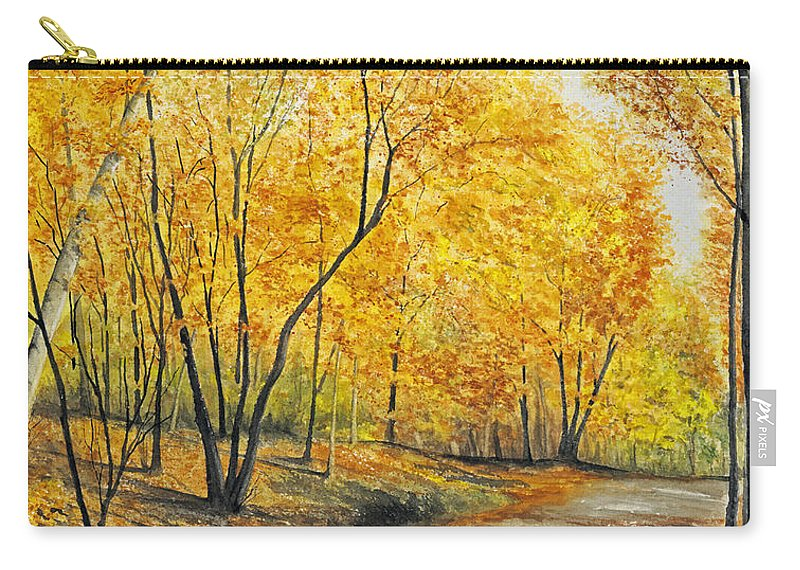 Autumn Carry-all Pouch featuring the painting On Golden Road by Mary Tuomi