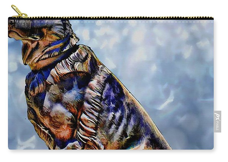 German Shepard Carry-all Pouch featuring the digital art On Guard by Tommy Anderson