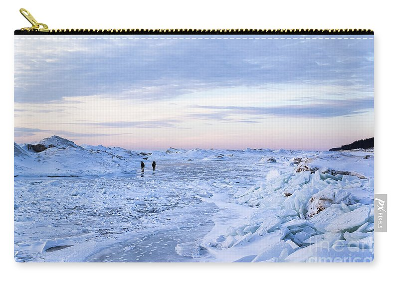 Lake Michigan Carry-all Pouch featuring the photograph On Lake Michigan Ice by Charles Norkoli