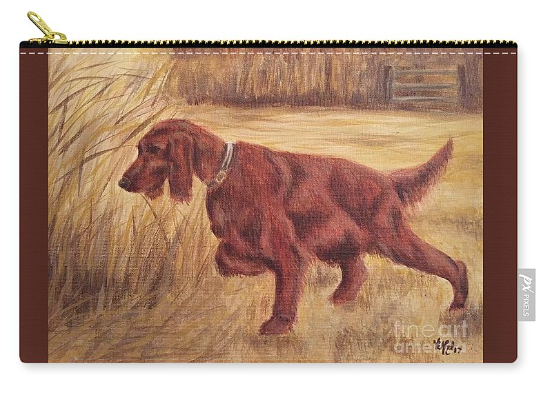 Dog Carry-all Pouch featuring the painting On Point by Katie Monzel