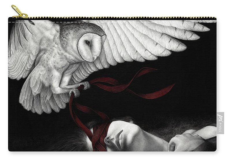 Woman Carry-all Pouch featuring the painting On Silent Wings by Pat Erickson
