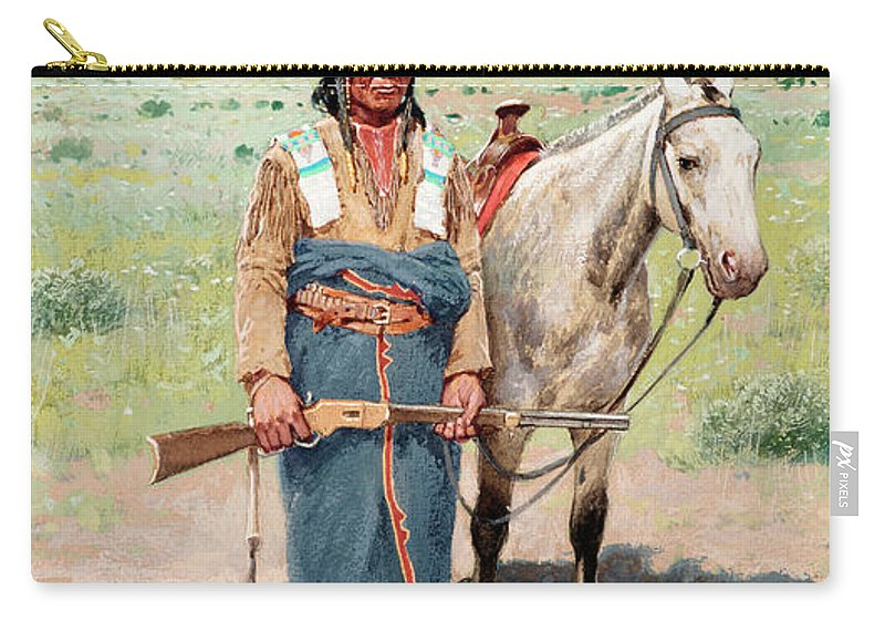 Native Americans Carry-all Pouch featuring the painting On The Alert by Henry Farny