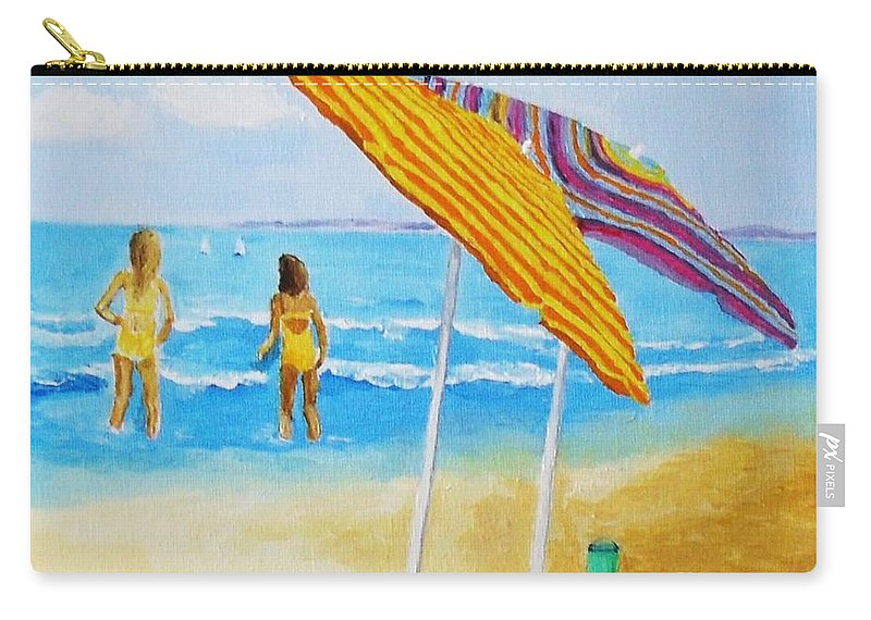 Beach Carry-all Pouch featuring the painting On The Beach by Rodney Campbell