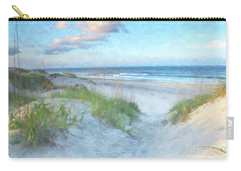 Beach Carry-all Pouch featuring the digital art On The Beach Watercolor by Randy Steele