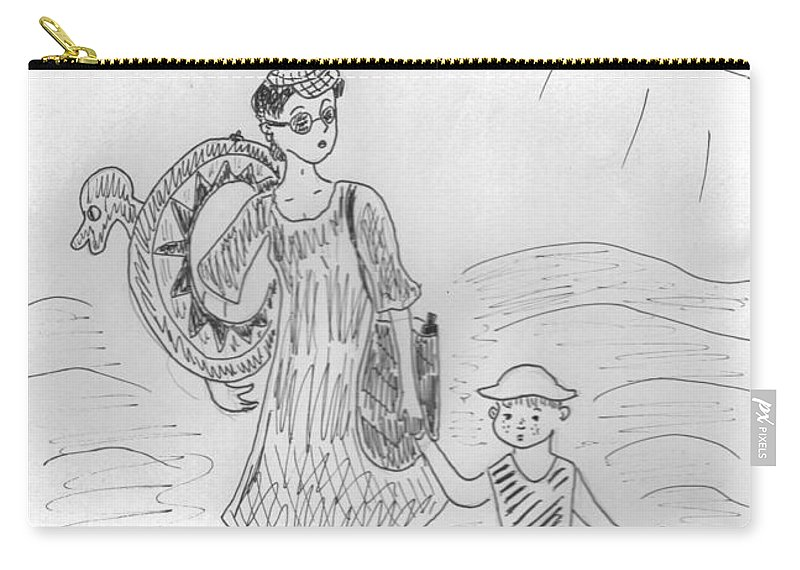 Carry-all Pouch featuring the drawing On The Beach by Yulia Shuster
