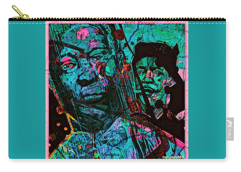 On The Blues Highway With Leadbelly And Muddy Waters Carry-all Pouch featuring the digital art On The Blues Highway With Leadbelly And Muddy Waters by Tony Adamo