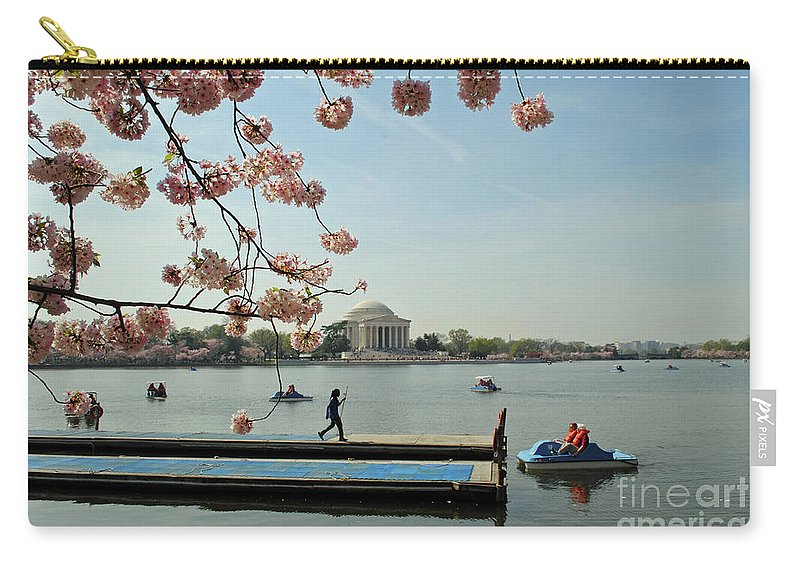 Cherry Carry-all Pouch featuring the photograph On The Cherry Blossom Dock by Jost Houk