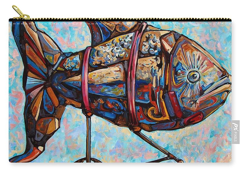 Surrealism Carry-all Pouch featuring the painting On The Conquer For Land by Darwin Leon