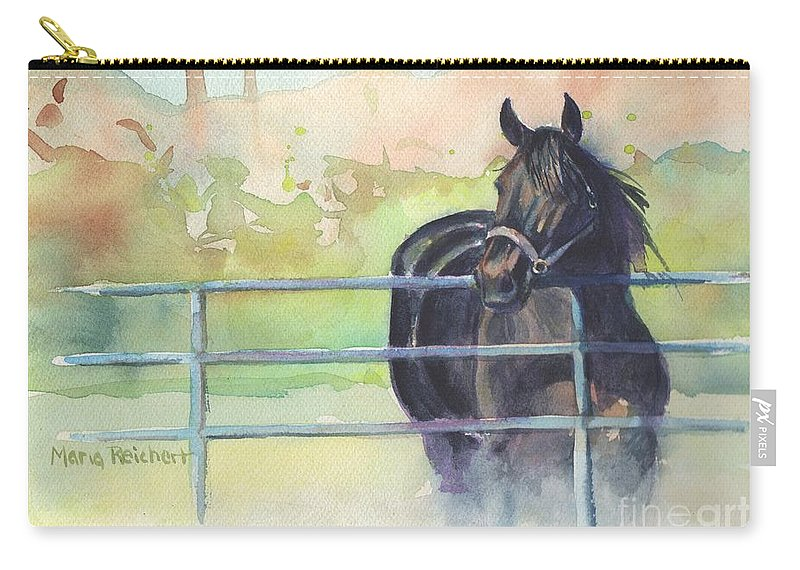 Horse Black Horse Landscape Farm Equine Art Watercolor Animals Pet Pasture Field Country Standardbred Racehorse Carry-all Pouch featuring the painting On The Dark Side by Maria's Watercolor