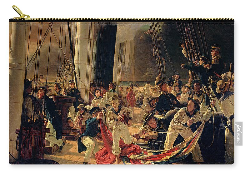 The Carry-all Pouch featuring the painting On The Deck During A Sea Battle by Francois Auguste Biard