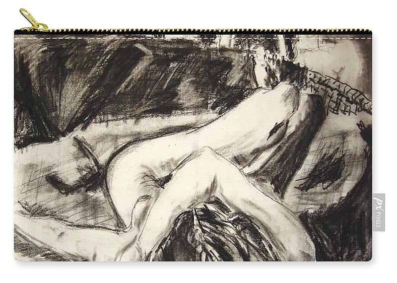 Inclined Nude Carry-all Pouch featuring the drawing On The Divan by Ron Bissett