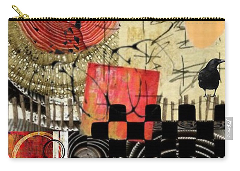 Orange Carry-all Pouch featuring the digital art On The Fence by Jean Savoie