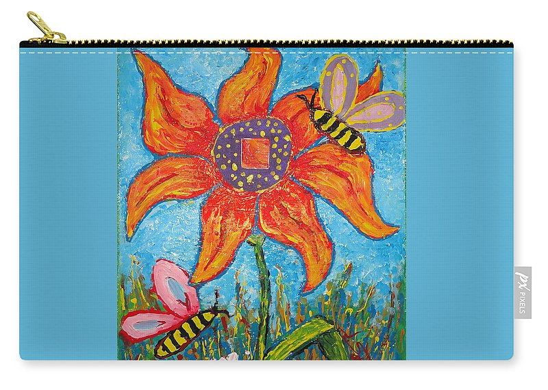 Landscape Carry-all Pouch featuring the painting On The Flower by Ioulia Sotiriou