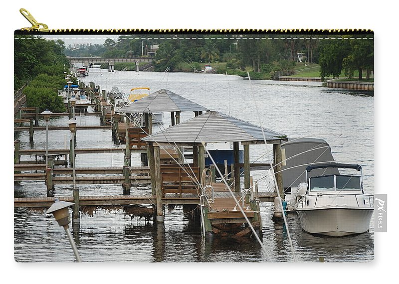 Boats Carry-all Pouch featuring the photograph On The Hillsboro Canal by Rob Hans