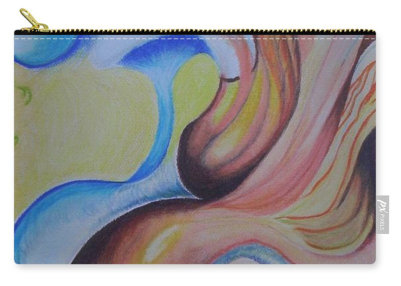 Abstract Carry-all Pouch featuring the painting On The Island by Suzanne Udell Levinger