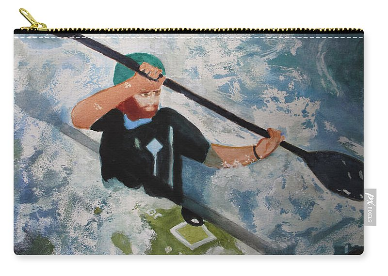Water Carry-all Pouch featuring the painting On The New by Sandy McIntire