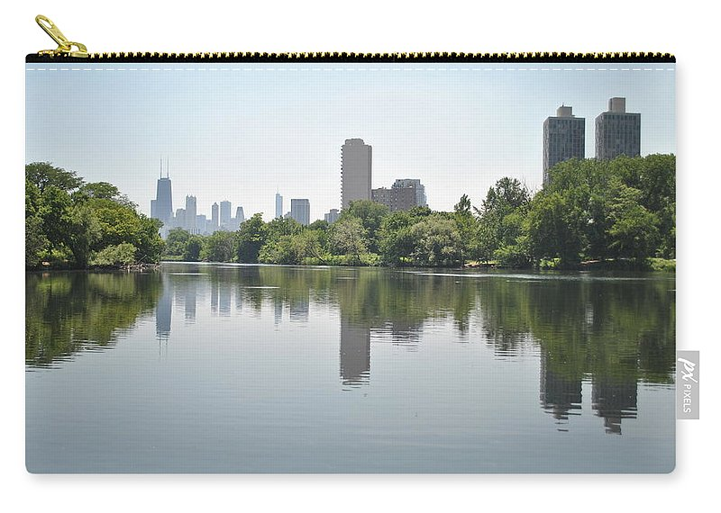 Pond Carry-all Pouch featuring the photograph On The Pond by Margaret Fronimos