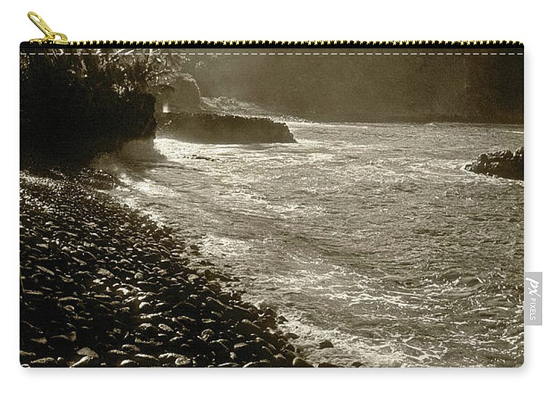 Hawaii Carry-all Pouch featuring the photograph On The Rocks Bw by Steve Williams