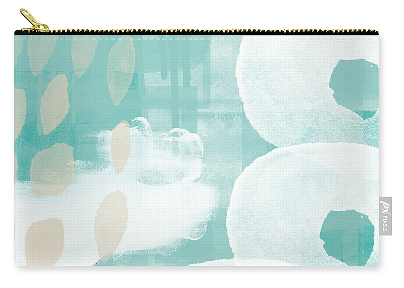 Beach Carry-all Pouch featuring the mixed media On The Shore- Abstract Painting by Linda Woods