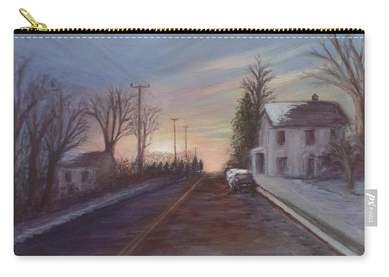 Winter Carry-all Pouch featuring the painting On The Way Home by Catherine MacNeill