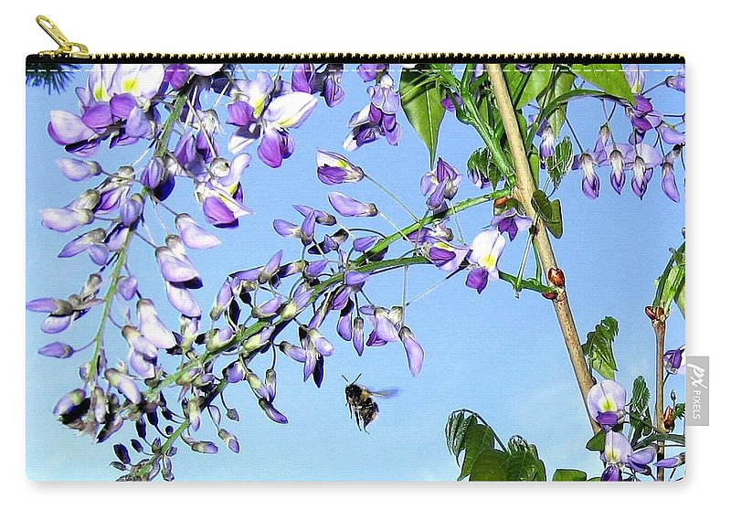 Honeybee Carry-all Pouch featuring the photograph On The Wing by Will Borden