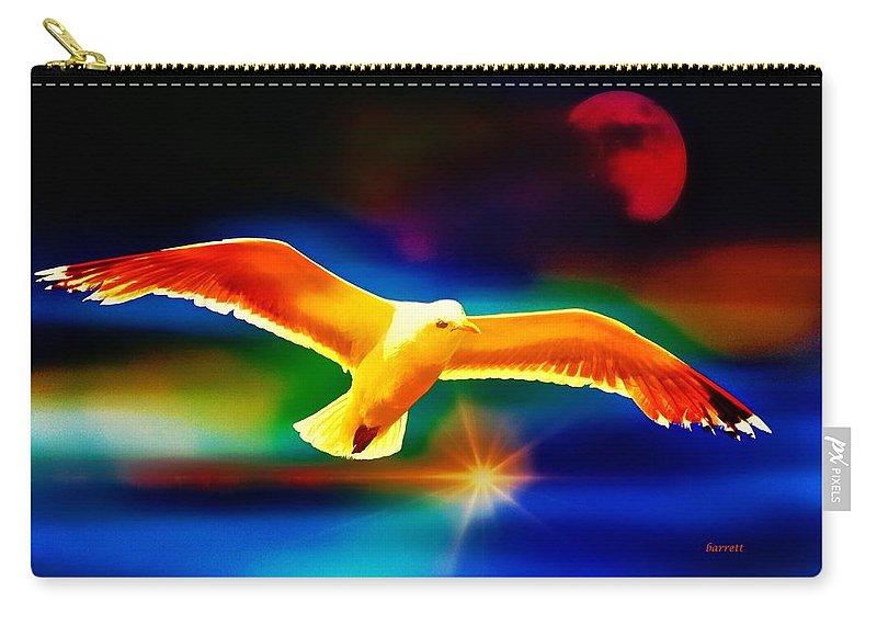Bird Carry-all Pouch featuring the painting On The Wings Of A Gull by Don Barrett