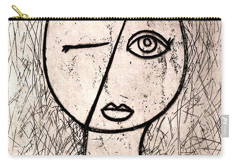 Clay Carry-all Pouch featuring the relief One Eye by Thomas Valentine