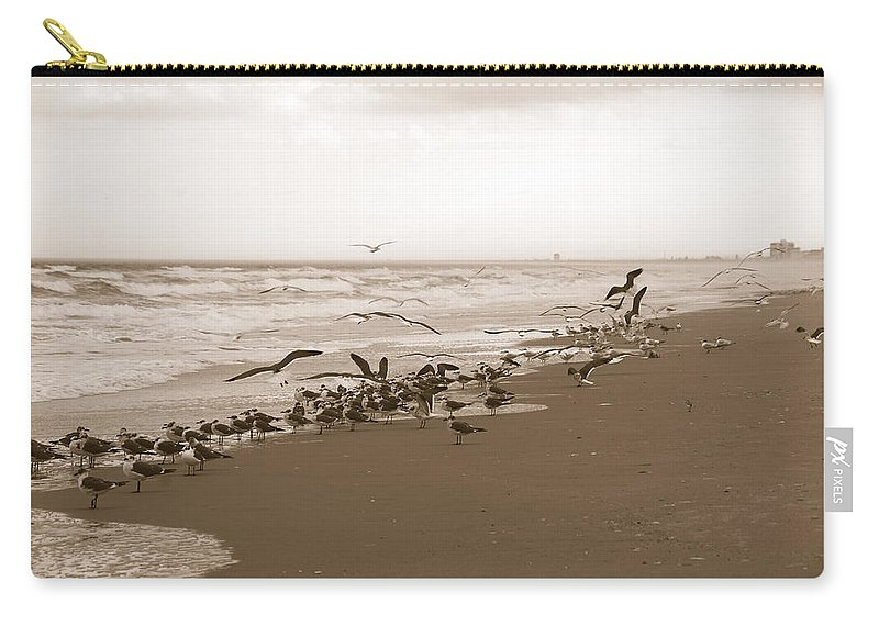 Photography Carry-all Pouch featuring the photograph One Flap Of A Seagull by Susanne Van Hulst
