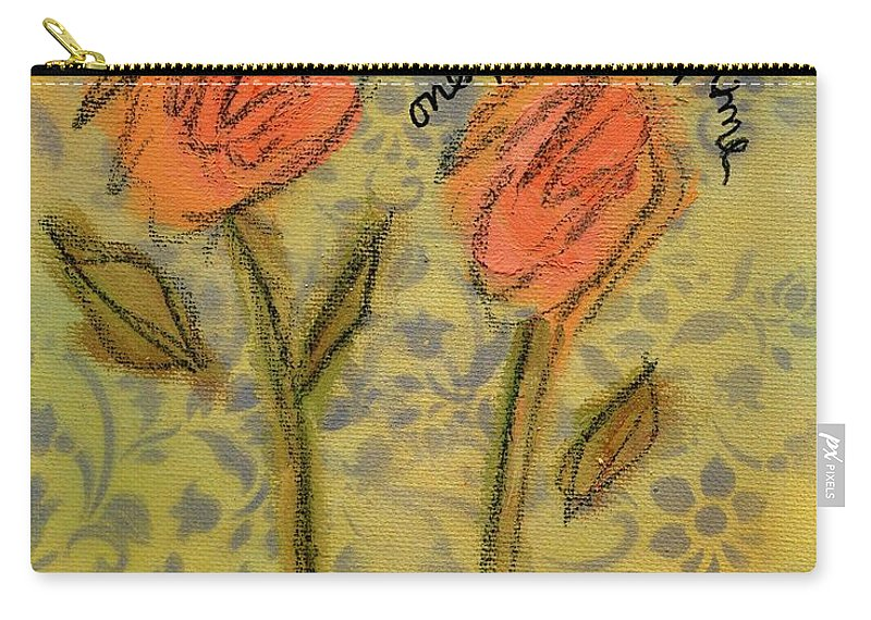 Flowers Carry-all Pouch featuring the painting One For You One For Me by Hew Wilson