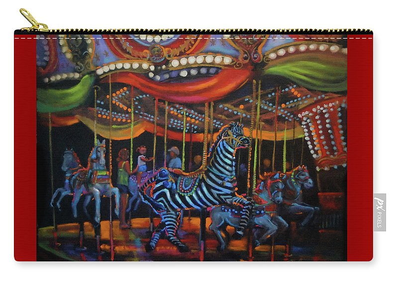 Merry-go-round Carry-all Pouch featuring the painting One More Turn by BJ Lane