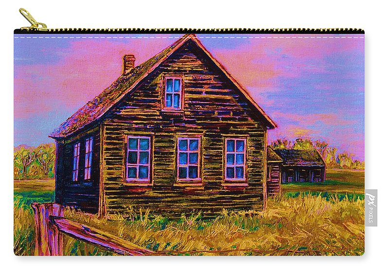 Western Art Carry-all Pouch featuring the painting One Room Schoolhouse by Carole Spandau