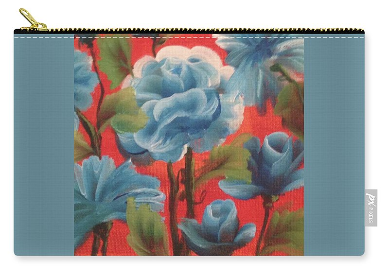 Flowers Carry-all Pouch featuring the painting One Stroke by Bianca Wiebe
