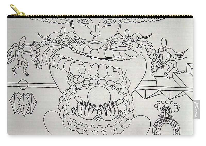 Drawing Carry-all Pouch featuring the painting One Thru Nine Drawing by Timothy Michael Foley