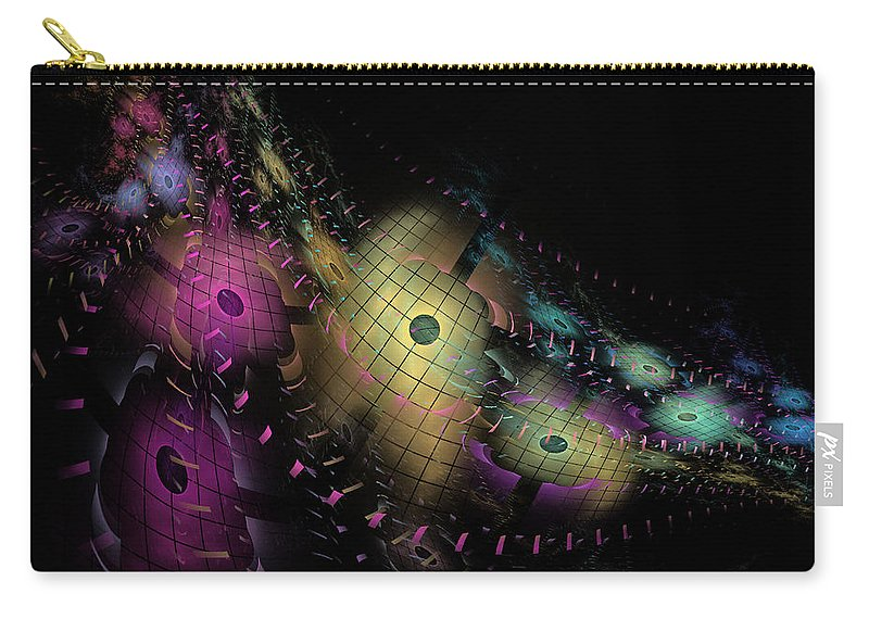 Nirvanablues Carry-all Pouch featuring the digital art One World No.6 - Fractal Art by NirvanaBlues