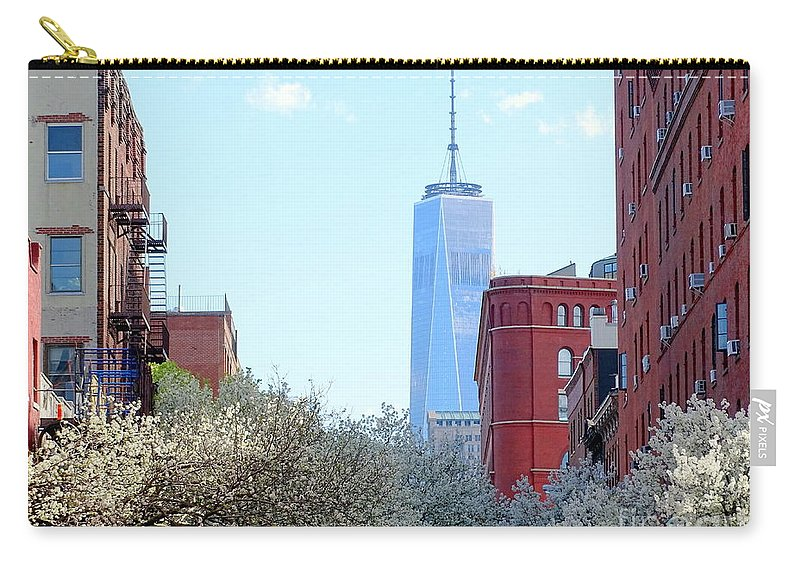 One World Trade Center Carry-all Pouch featuring the photograph One World Trade Center In Spring by Ed Weidman