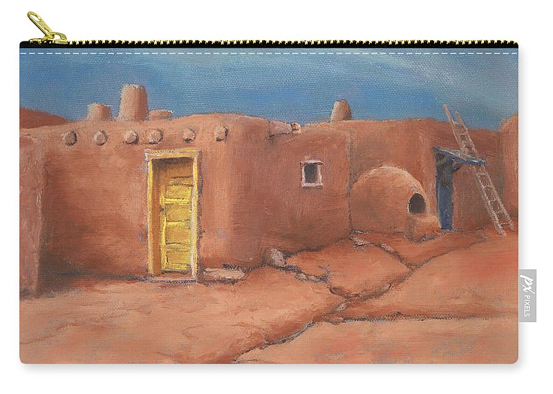Taos Carry-all Pouch featuring the painting One Yellow Door by Jerry McElroy