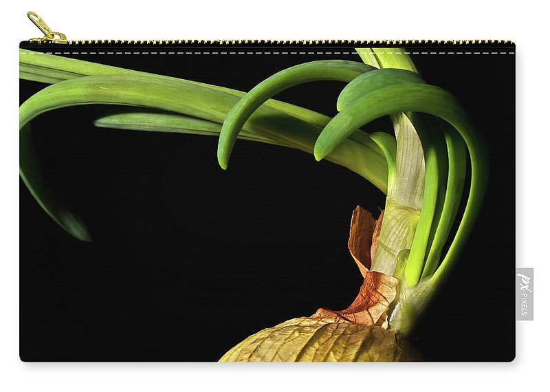 Onion Greens Carry-all Pouch featuring the photograph Onion Sprouting by Onyonet Photo Studios