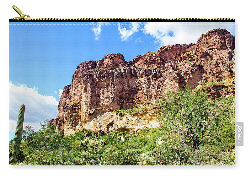 Onward And Upward Carry-all Pouch featuring the photograph Onward And Upward At The Superstition Mountains Of Arizona by Amy Sorvillo