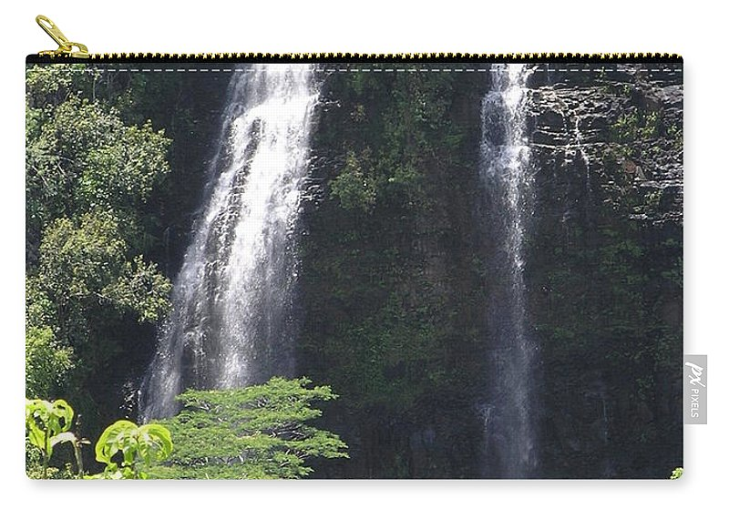 Mary Deal8waterfalls Carry-all Pouch featuring the photograph Opaekaa Falls On Kauai Before A Storm by Mary Deal