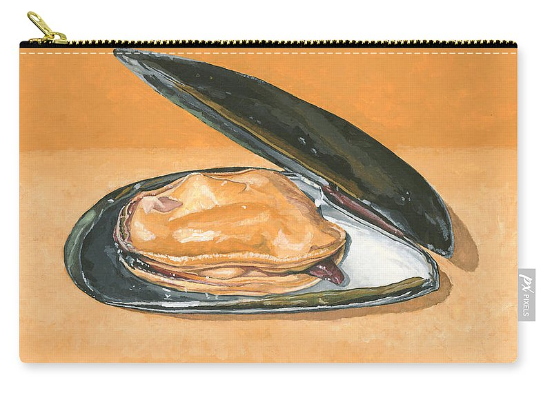 Mussel Carry-all Pouch featuring the painting Open Mussel by Dominic White