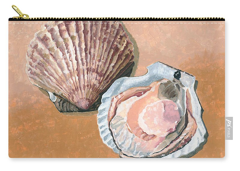 Scallop Carry-all Pouch featuring the painting Open Scallop by Dominic White