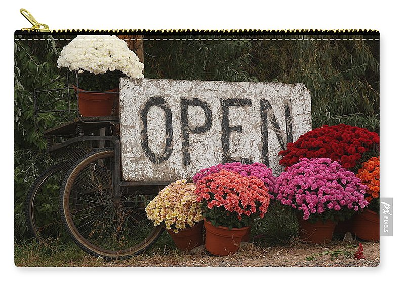Mums Carry-all Pouch featuring the photograph Open Sign With Flowers Fine Art Photo by James BO Insogna