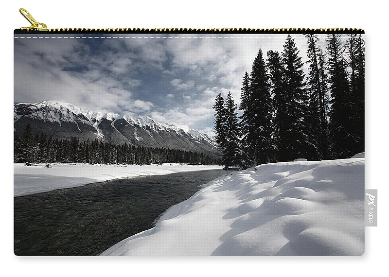 Snow Covered Carry-all Pouch featuring the digital art Open Water In Winter by Mark Duffy