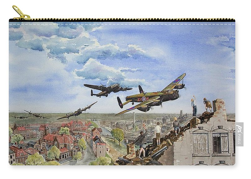 Lancaster Bomber Carry-all Pouch featuring the painting Operation Manna I by Gale Cochran-Smith