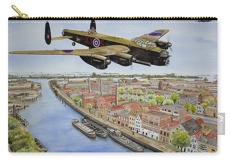 Lancaster Bomber Carry-all Pouch featuring the painting Operation Manna II by Gale Cochran-Smith